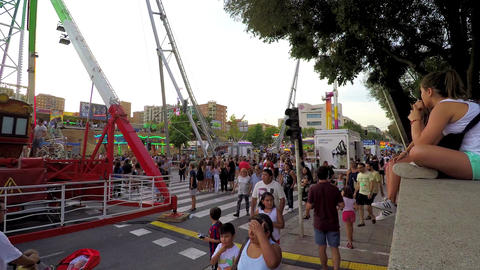 Very Crowded City Fair Full of People 영상물