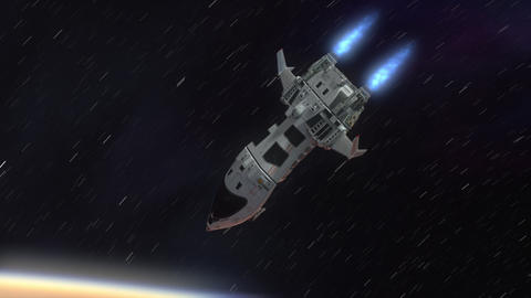 Futuristic Spaceship Arriving at a Planet Animation