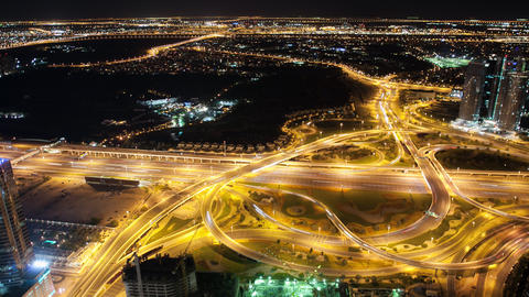 time lapse from high traffic crossroads in dubai city Footage