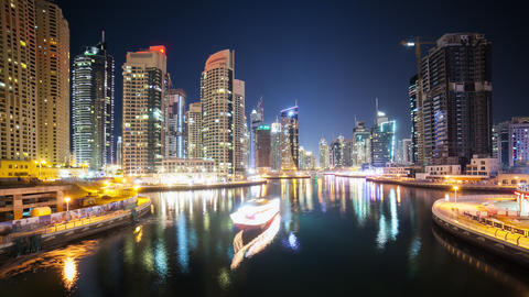 dubai marina time lapse with boats and street lights Footage
