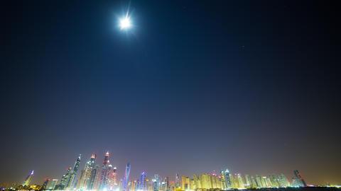 night dubai panoramic time lapse Footage