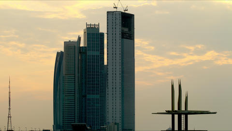 sunny skyscrapers abu dhabi time lapse Footage