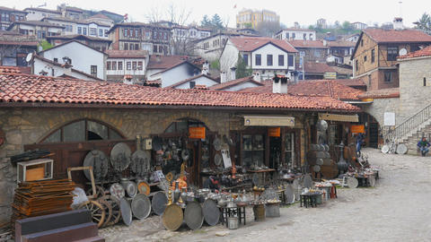 SAFRANBOLU, TURKEY - MAY 2015: silver copper pots and pans Footage