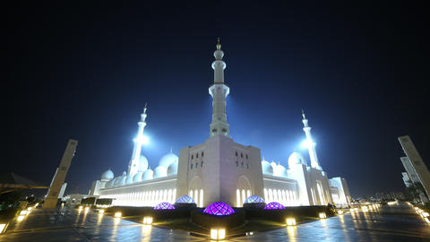 night light mosque 4k time lapse from uae Footage