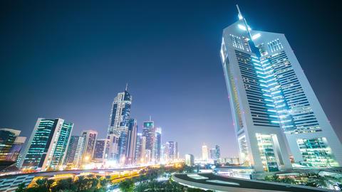 night dubai towers 4k time lapse from uae Footage