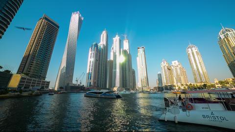 sunny skyscrapers dubai marina time lapse Footage