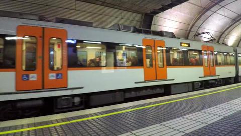 Train Leaves Underground Station Footage