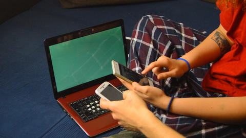 Young People Play With Each Others Technolgy Laptop and... Stock Video Footage
