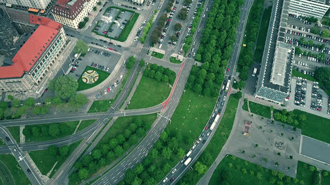 Aerial top down view of road traffic in Dresden, Germany 영상물