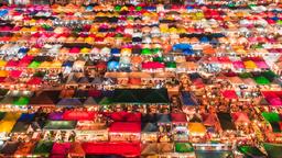 Night market in Bangkok, Thailand 영상물