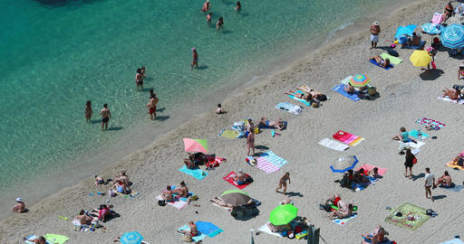 People Relaxing At The Beach Aerial View Footage