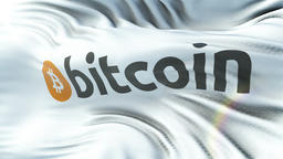 BITCOIN flag waving on sun. Seamless loop with highly detailed fabric texture GIF