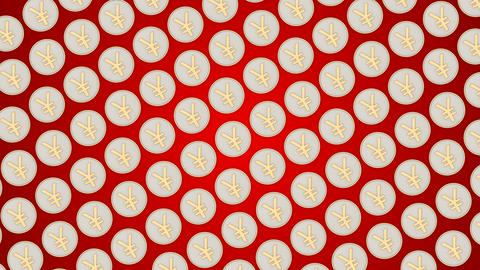 033 Chinese yuan coins china money red background coins traffic diagonal Animation
