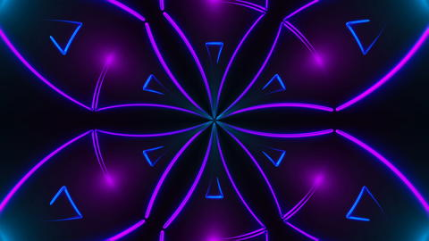 Beautiful abstract symmetry kaleidoscope with shiny neon lines, 3d render フォト