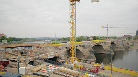 DRESDEN, GERMANY - MAY 2, 2018. Historic Augustusbrucke Bridge renovation works Footage