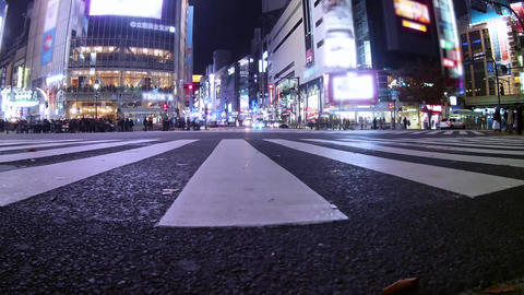 Cars and people at Shibuya scramble crossing(intersection). Motion blur, Time Footage