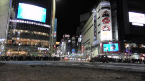 Shibuya crossing at night.low angle view time lapse 영상물