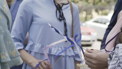Woman with ribbons waiting for the holiday Footage