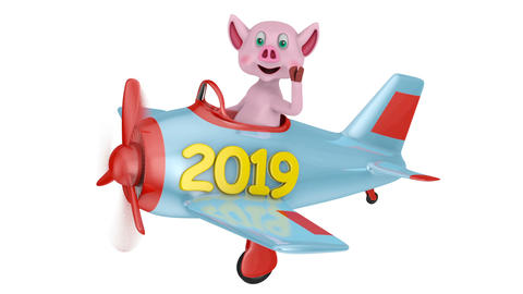 Piglet in airplane 2019 02 Videos animados