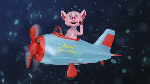 Piglet in airplane Merry Christmas1 Animation