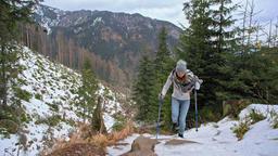 Sporty Woman is Hiking in Mountain in Snowy Winter in Slow Motion ビデオ