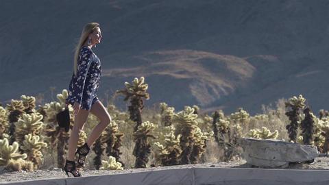 girl near the road in the desert 영상물