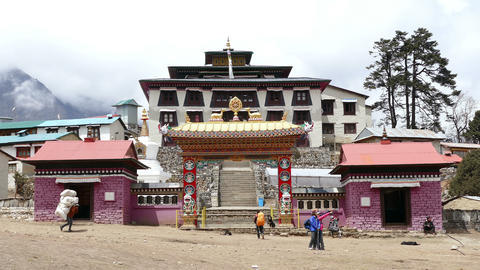 Tengboche Temple Monastery Tourists Travel Tourism Khumbu Everest 4k Footage