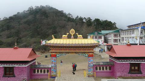Time Lapse Dharma Wheel Tengboche Buddhist Temple Khumbu Himalayas 4k Footage