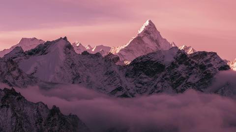 Time Lapse Zoom Ama Dablam Peak Sunrise Himalayas Mountains 4k Footage
