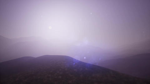 4K .Aerial. Flight in mountains like bird through fog 영상물