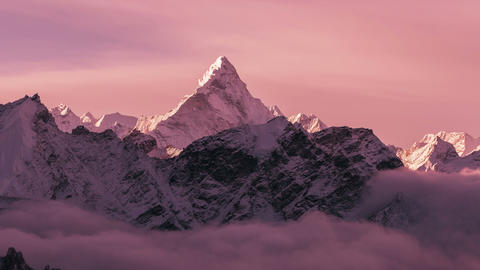 Time Lapse Zoom Out Ama Dablam Peak Sunrise Clouds Himalayas Mountains 4k Footage
