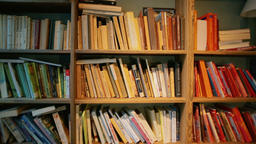 Horizontal Panorama of Shelves with Different Books and a Lamp in a Cozy Room ビデオ