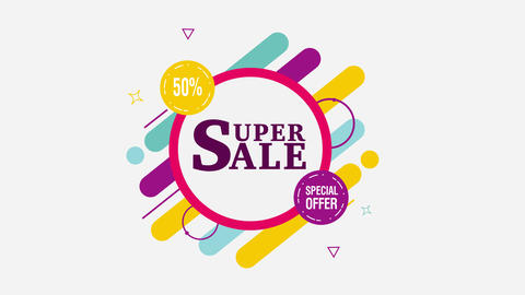 Super Sale 50% off motion tag. Alpha channel Animación