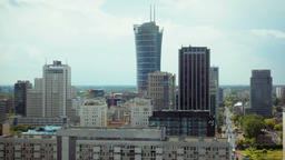 Horizontal High Panorama of Modern City with Skyscrapers, Cunstruction and Road Footage