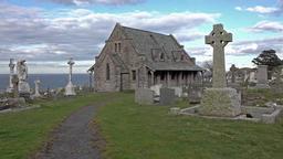 Llandudno / Wales, UK - April 22 2018 : St Tudno's church and cemetery on the 영상물