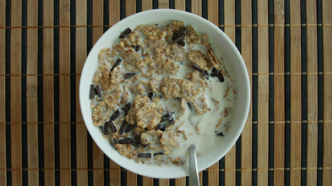 Eating healthy cereal breakfast with a spoon - topview ภาพวิดีโอ