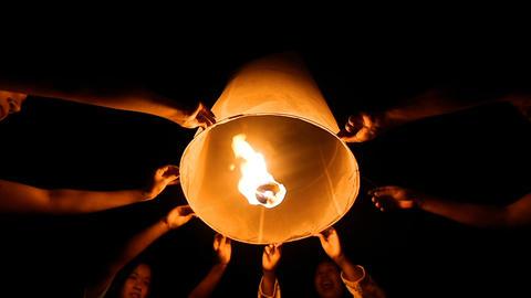 Floating lanterns in Yee Peng Festival, Loy Krathong celebration in Thailand Footage