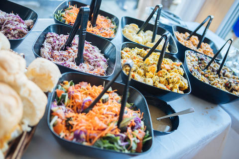 shot of delicious food served in a dinner or wedding reception Photo