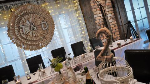 Shot of wedding reception dinner table decoration Fotografía