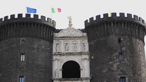 Naples, Italy - Castel Nuovo facade with triumphal arch and gatehouse 영상물
