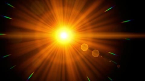 Close-up of colorful light transition / lens flare effect animation background Animación