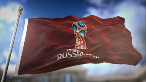 FIFA World Cup 2018 Russia Red Flag Waving Slow Motion 3D Rendering Blue Sky GIF