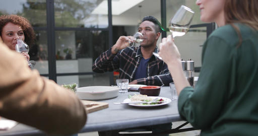 Group of friends tasting white wine at a meal Footage