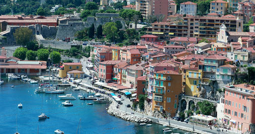 Beautiful Aerial View of Villefranche Sur Mer With The Harbor Footage
