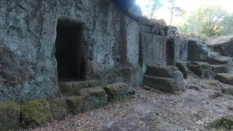 Aerial close up shot of etruscan tombs of Cerveteri, Rome Italy Footage