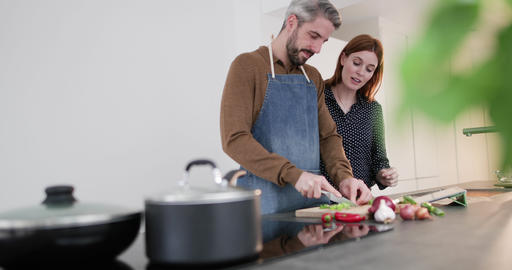 Couple preparing a meal together Live Action