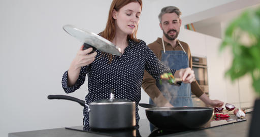 Couple preparing an evening meal together Live Action