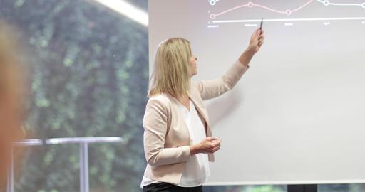 Senior business executive giving a presentation in a meeting 影片素材