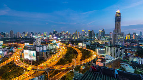 Time lapse of cityscape and traffic in Bangkok, Thailand ビデオ