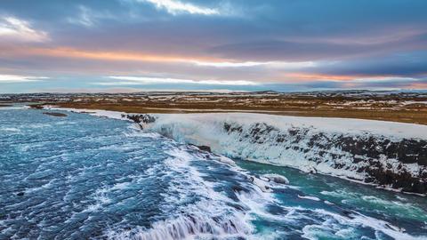 Gullfoss waterfall in Winter, Iceland Footage